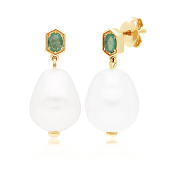 Modern Baroque Pearl & Emerald Drop Earrings in Gold Plated Sterling Silver 270E028204925