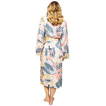 Cyberjammies Hallie 4518 Women's Peach Mix Abstract Print Long Robe