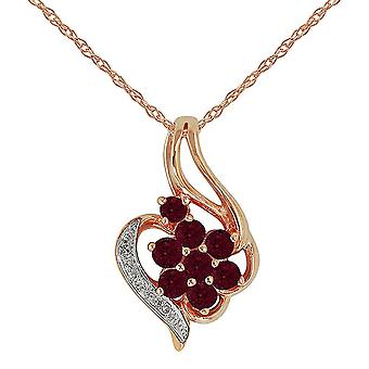 Floral Round Ruby & Diamond Pendant Necklace in 9ct Rose Gold 129P0565039