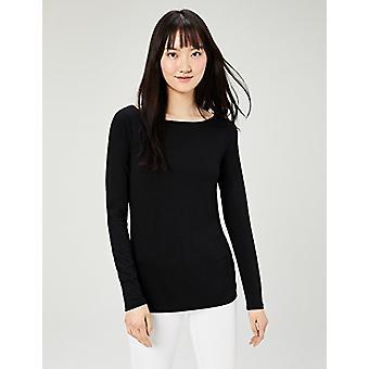 Brand - Daily Ritual Women's Jersey Long-Sleeve Bateau-Neck T-Shirt, Black/Black, X-Small