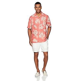 28 Palms Men's Relaxed-Fit Silk/Linnen Tropical Hawaiian Shirt, Washed Red Vin...