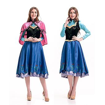 Womens 2pc Frozen Princess Anna Fancy Dress Cosplay Costume With Cape