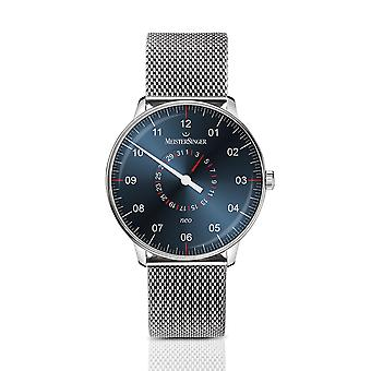 MeisterSinger Neo Plus Pointer Date NED417 Automatic Blue Dial Silver Milanese Bracelet Men's Watch