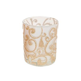 Large Votive Candle with Gold Glitter Decals