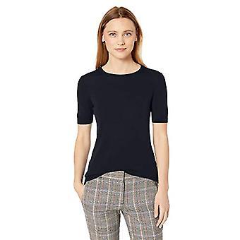 Lerche & Ro Frauen's Merino Wolle Kurzarm Rundhals Pullover, Marine, Medium
