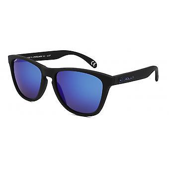 Sonnenbrille Unisex    polarisiert matt schwarz mit blauer Linse (P30680/C)