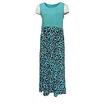 Cuddl Duds Dress Flexwear Maxi Animal Print Lagoon Green A346882