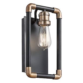 1 Lichte binnenwand licht zwart, natural brass, E27