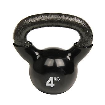 fitness mad 4kg kettlebell black strength and endurance training weight 4kg