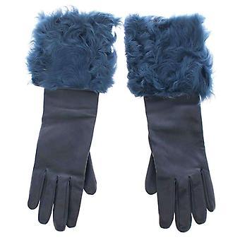 حلو آند غابانا أزرق جلد الخراف الجلود الفراء شعار المعصم قفازات-MOM1670917