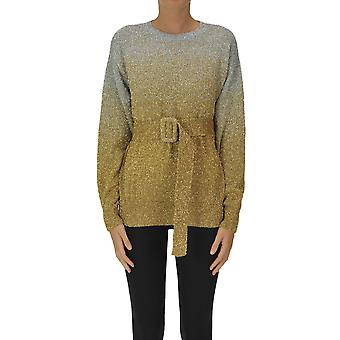 Dries Van Noten Ezgl093190 Dames's Gold Metallic Fibers Sweater