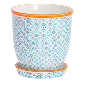 Nicola Spring Hand-Printed Plant Pot with Saucer - Porcelain Flower Pot and Drip Tray - Blue - 20 x 20.5cm