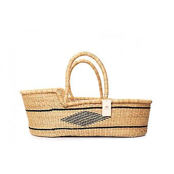 Cosy Coco Natural Handwoven Baby Moses Basket & Mattress   Black Diamond