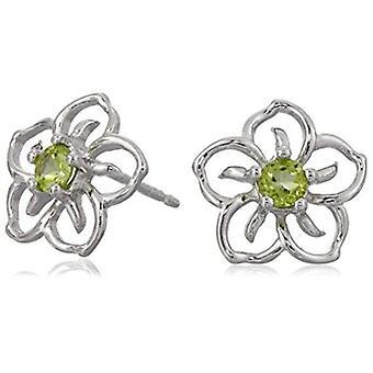 Pendientes de flores de peridoto genuino de plata de ley, verde, tamaño sin tamaño