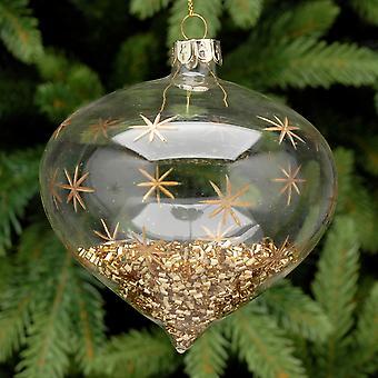 9cm klar Glas Zwiebel Form Gold Perle gefüllt Weihnachtskugel