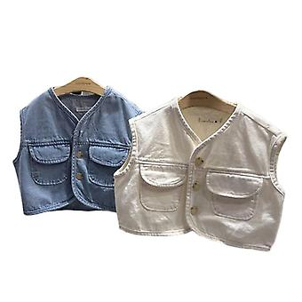 Kids Vest Vest Denim Waistcoats Outerwear For Girls