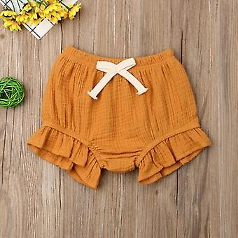 Baby Girls Boy Solid Shorts Bottoms Ruffled Pp Bloomers Cotton Lace-up Panties 0-24m