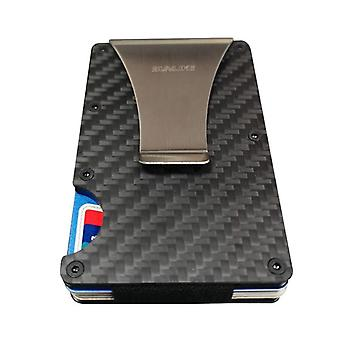Sulike Fashion Slim Carbon Fiber Credit Card Holder Rfid Non-scan Metal Wallet Purse Male Carteira Masculina Billetera