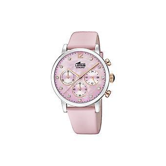 لوتس L18674-2 الاتصال الهاتفي الوردي مع الجلود حزام ساعة اليد