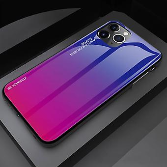 الاشياء المعتمدة ® فون 11 برو ماكس حالة التدرج - TPU و 9H الزجاج - صدمة غلاف غلاف لامعة كاس TPU الوردي