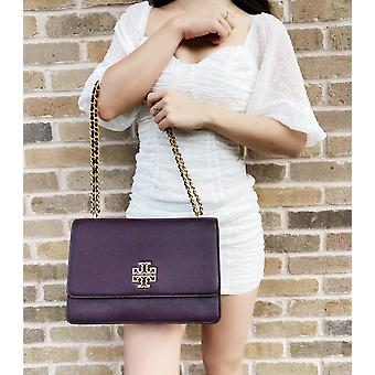 Tory burch britten large adjustable shoulder bag crossbody plum purple leather