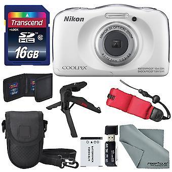 Nikon coolpix w100 digitalkamera (vit) grundläggande bunt med flytande rem + 16 gb +stativ + sd / sdhc läsare + batteri + fall + fibertiq