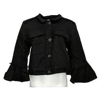 Du Jour Women's Cropped Twill Jacket With Pom Trim Black A367362