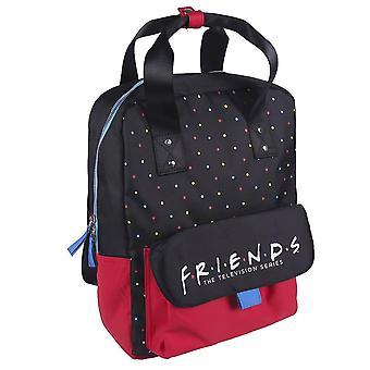 Vänner Logo Polka Dot svart och röd ryggsäck