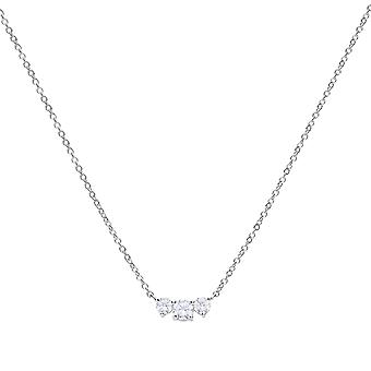 Diamonfire 925 Sterling Silver 3 Stone Graduated Size Cubic Zirconia Claw Set Pendant Necklace of Length 43-45cm