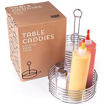 Stříbrný kovový stolní caddies, 2 balení