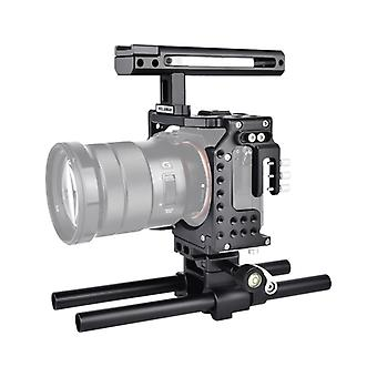 YELANGU CA7 YLG0908A-A Håndtag Video Camera Cage Stabilizer til Sony A7K & amp; &A7X &A73 &A7S &A7R &A7RII A7SII(Sort)