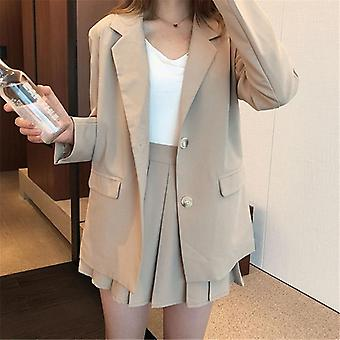 Women Long Sleeve Blazer & High Waist Pleated Skirt Outfits, Loose Female Suit