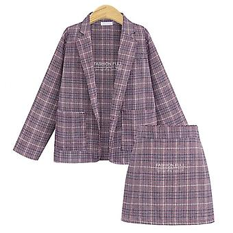 Women Suit Sets, Autumn Elegant Office Plaid Long Sleeves, Single-breasted