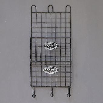 Industrial Retro, Wrought Iron Magazine Shelf, Wall Storage Rack, Wall