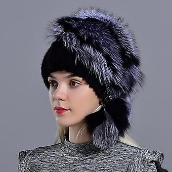 Winter Natural Fur, Knitted Mink Fox Pompom Fur Hats With Balls  Stylish Warm