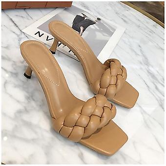 Diseño tejer mujeres zapatillas de tacón alto sandalia abierta dedo del pie slip on Summer Outdoor