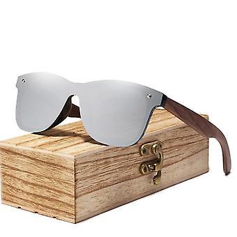 Polarized Walnut Wood Mirror Lens Sunglasses/women