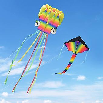 Kupton 2 Pack Kites Kit, 5M Large Octopus Kite and Rainbow Delta Kite with Beautiful Tails