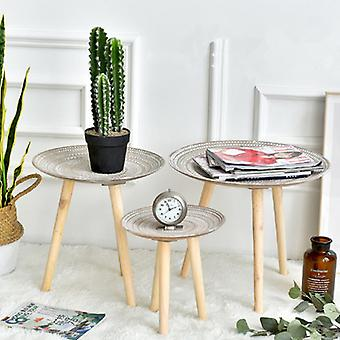 Creative Round Nordic Wood Coffee Table Storage Tea Fruit Service Plate Tray Bed Home table Living Room Table Sofa Side