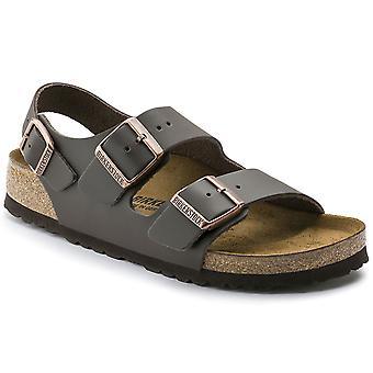 Unisex Adults Birkenstock Milano Smooth Leather Summer Dark Brown Sandal