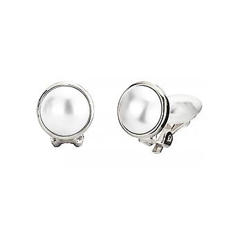 Traveller Pearl Clip Earrings  10mm White  rhodium plated - 113365