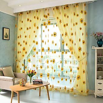 Sunflower Pattern Tulle Curtain Home Decor, Floral Window Blind Screening