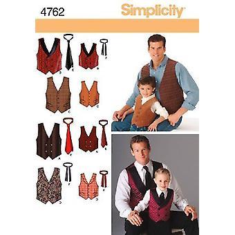 Yksinkertaisuus ompelu kuvio 4762 Pojat Miesten liivi & solmiot Koko S-L S-XL