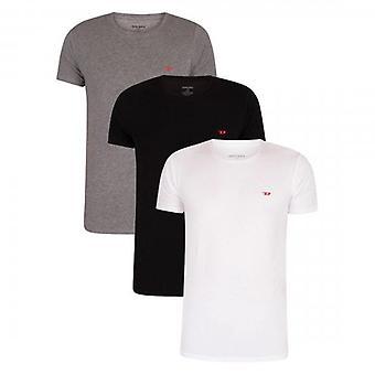 Diesel Randal 0WAVC 3 Pack Plain White/Black/Greyy Crew Neck Stretch T-Shirts