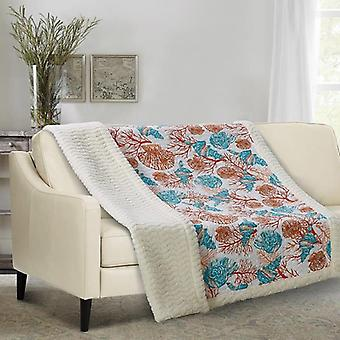 Spura Home Beach Comber Botanical Quilted Sherpa Lodge and Lake Throw