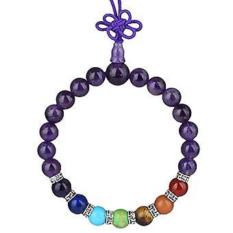 KYEYGWO 21 Mala Bracelet with Crystal Beads Chakra, unisex, Reiki Stretch and League, color: Amethyst (7 stone chakra with Ref. 0715444069215