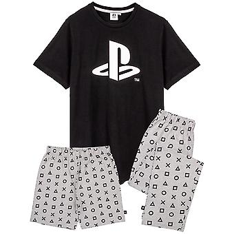 Playstation Pyjamas For Men   Black Short Sleeve T Shirt With Grey Long OR Short Trousers Gamer PJs   Game Console Merchandise