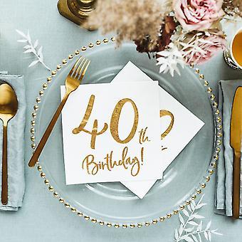 40 års fødselsdag part papirservietter x 20 hvid og guld