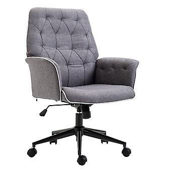 HOMCOM Linen Office Swivel Chair Mid Back Computer Desk Chair with Adjustable Seat, Arm - Grey