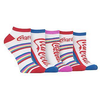Coca cola 5 pk tobillo estampado calcetines entrenador